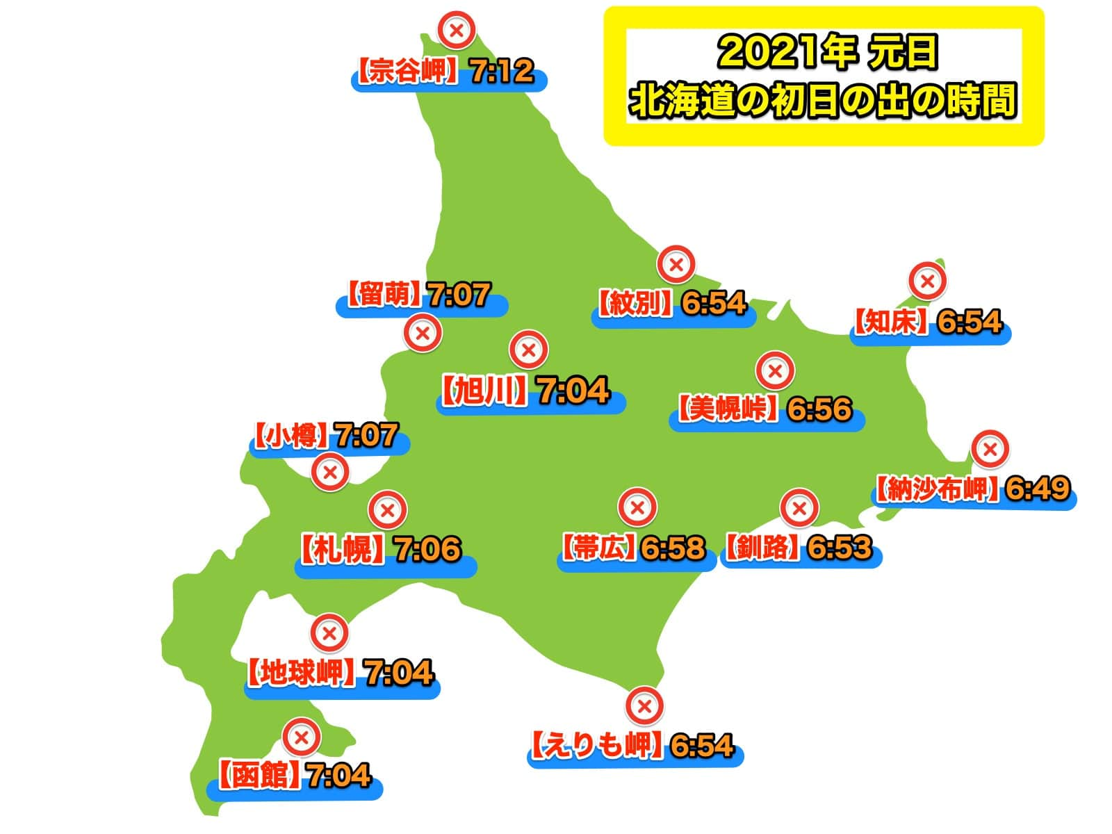 2021年北海道の初日の出時間地図