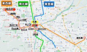 地下鉄宮の沢駅路線図