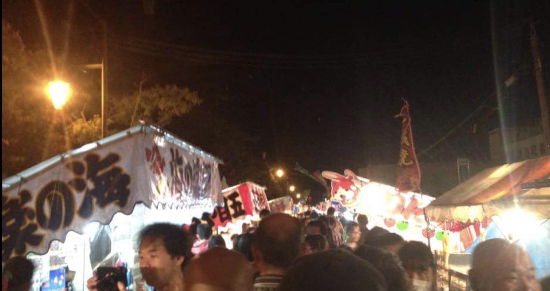 栗山天満宮秋季例大祭の露店の風景