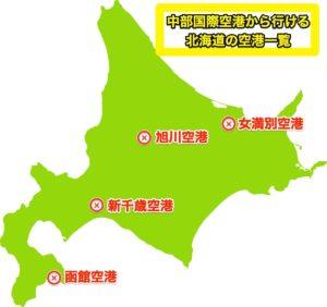 中部国際空港から行ける北海道の空港地図