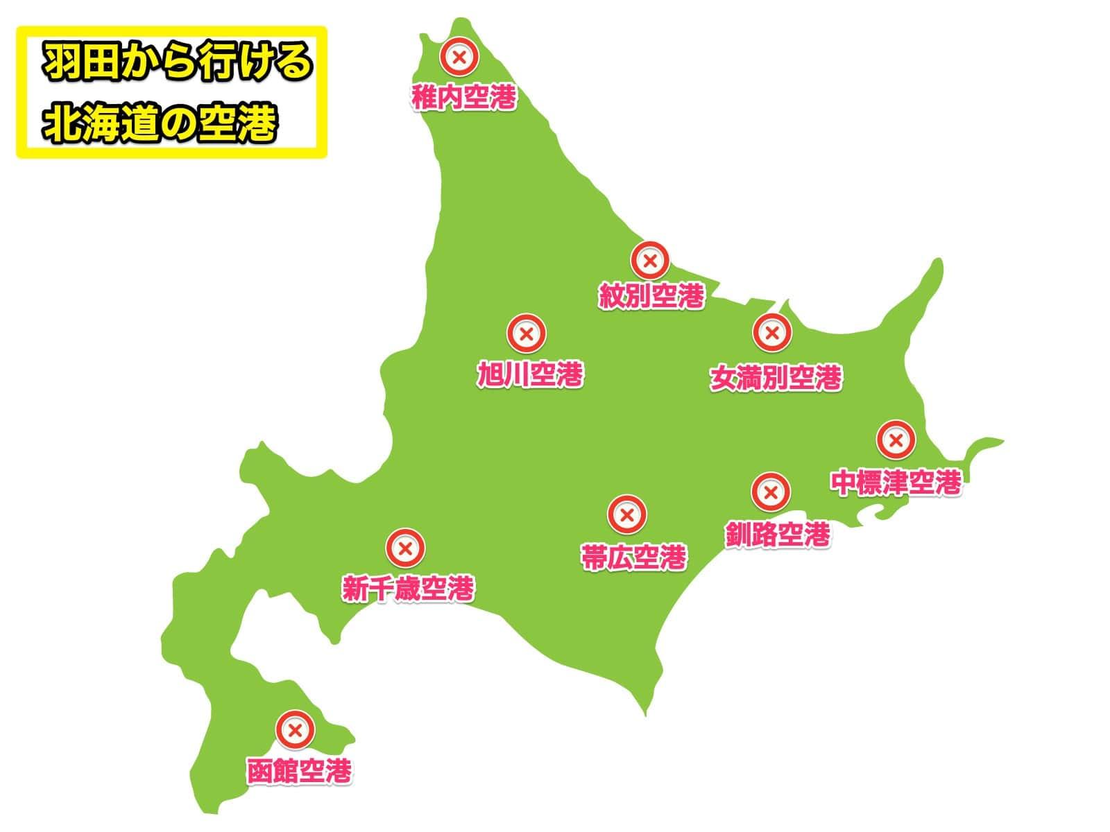 羽田空港から行ける北海道の空港地図
