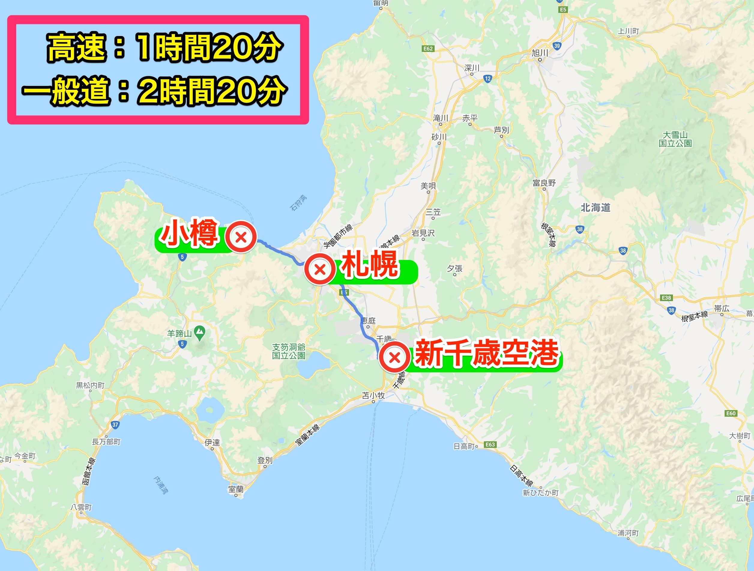 新千歳空港から小樽へのアクセスマップ