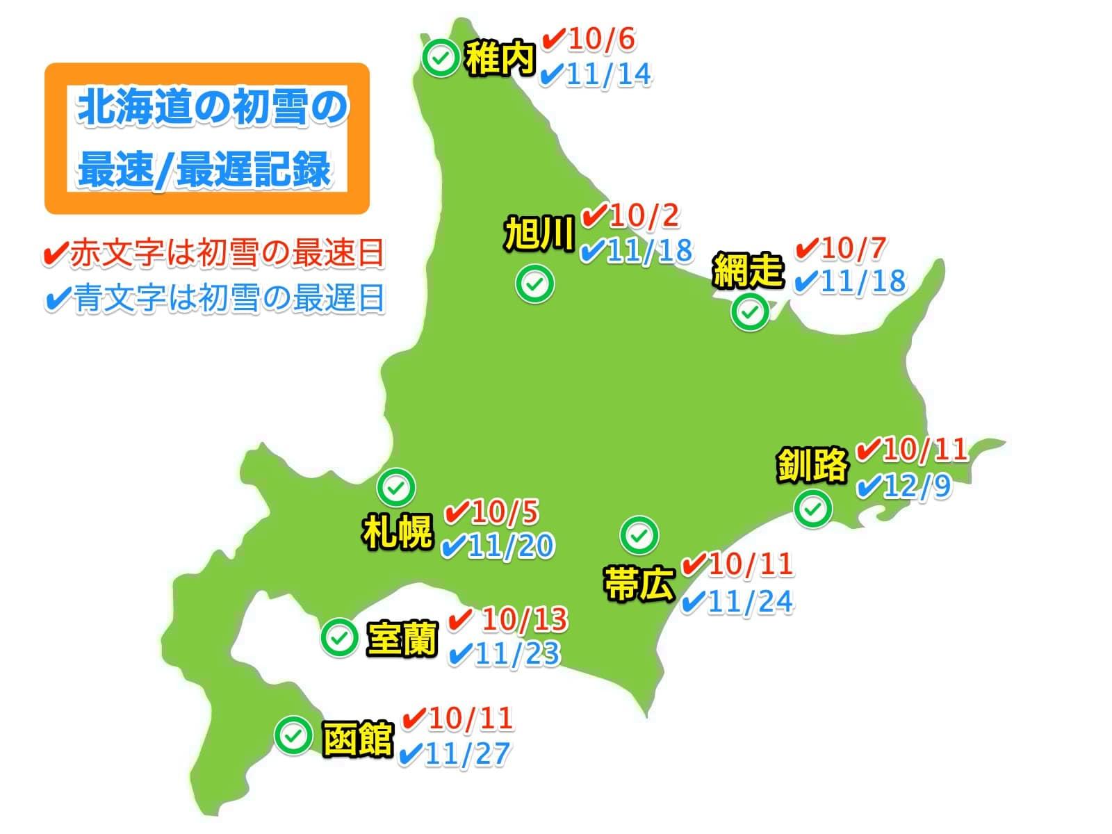 北海道の初雪の最速/最遅記録地図