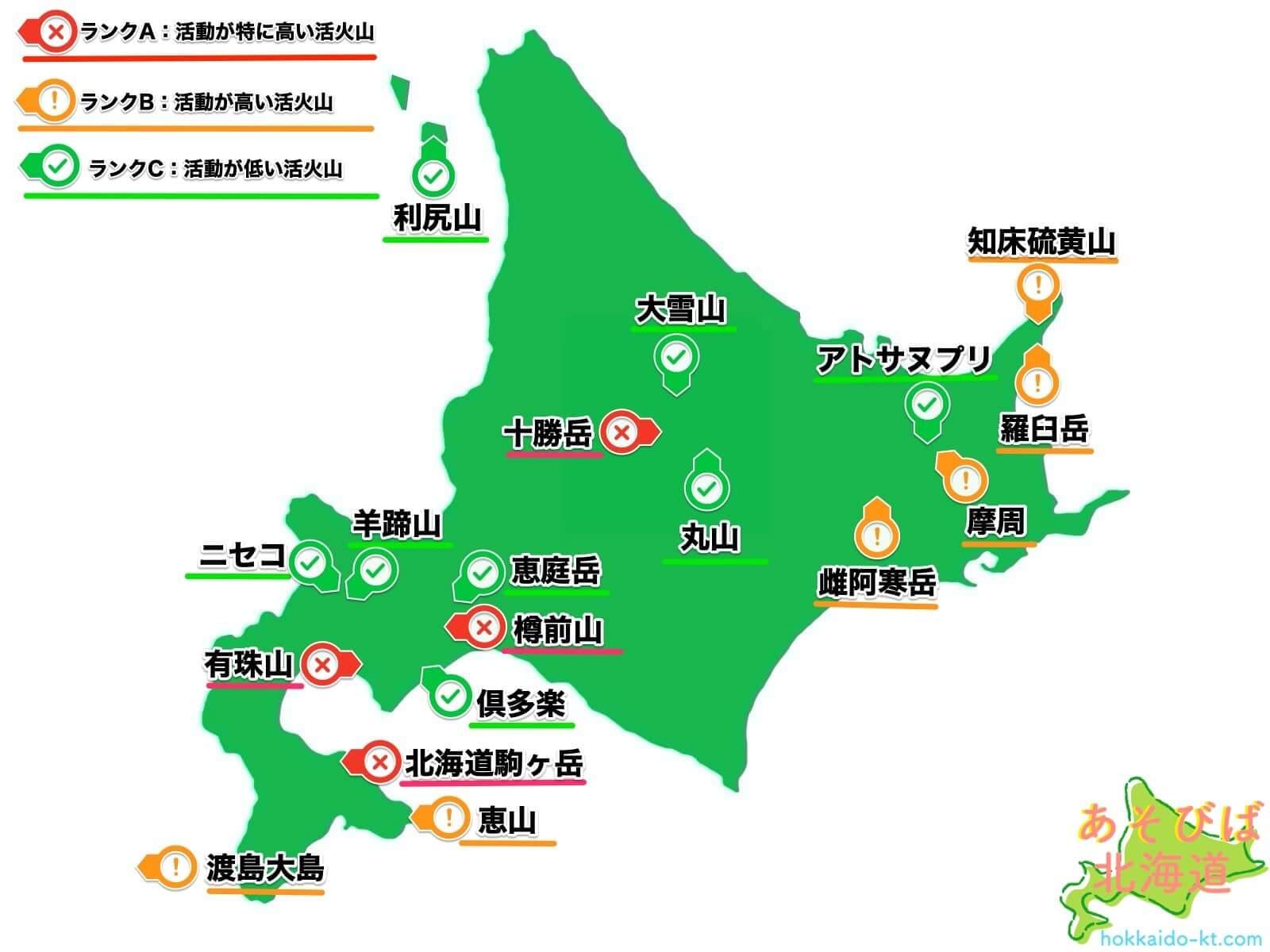 北海道の活火山一覧地図