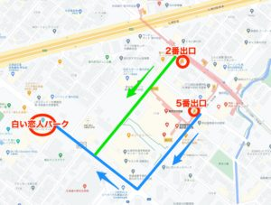 宮の沢駅から白い恋人パークへのアクセス地図