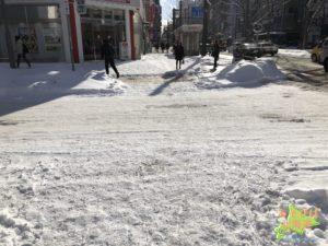 1月の札幌中心部の道路